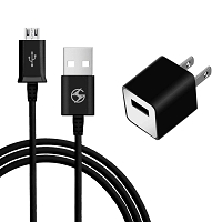 Micro V8 V9 2 in 1 Travel Home Charger Black